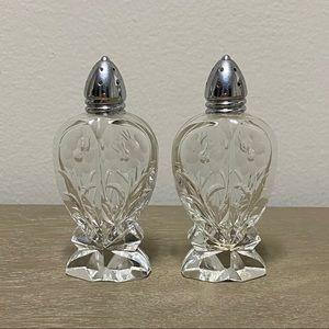 Vintage Irving W. Rice Floral Glass Salt + Pepper